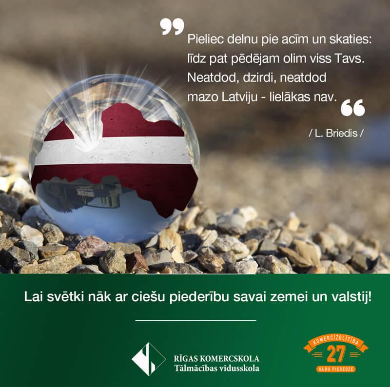 Sveicam audzēkņus un pasniedzējus Latvijas dzimšanas dienā