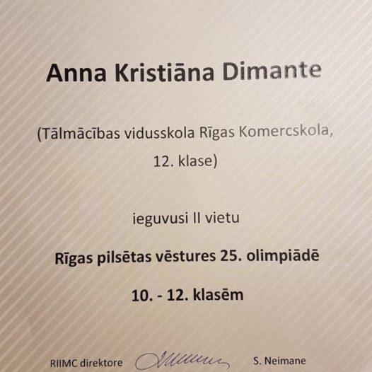 Rīgas Komercskolas audzēknes 2. vieta Rīgas pilsētas vēstures 25. olimpiādē