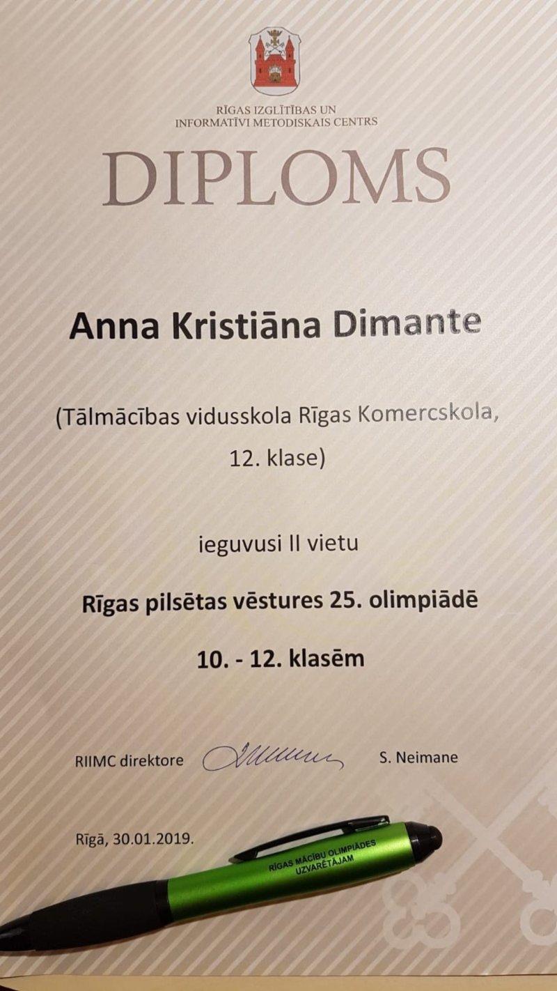 Rīgas Komercskolas audzēknes 2. vieta vēstures 25. olimpiādē