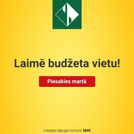 Budžeta vietas izloze Rīgas Komercskolā (loterijas Nr. 5849)