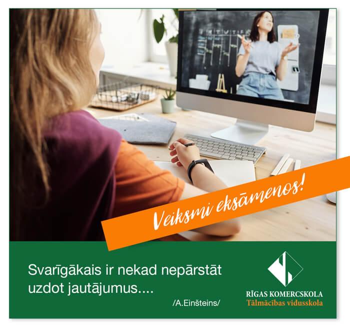 Veiksmi 2020. gada eksāmenos Tālmācības vidusskolā «Rīgas Komercskola»