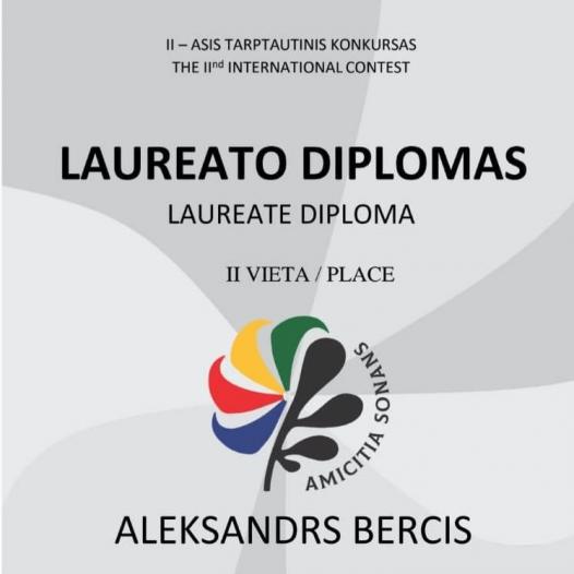 Aleksandram Bērcim 2. vieta starptautiskajā pianistu konkursā «Amicitia sonans»